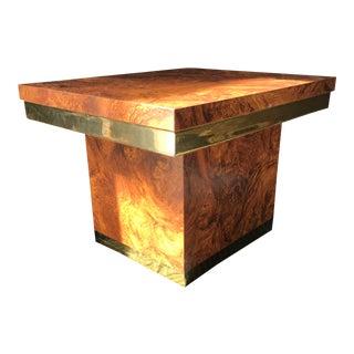 Faux Burl-Wood & Brass Side Table
