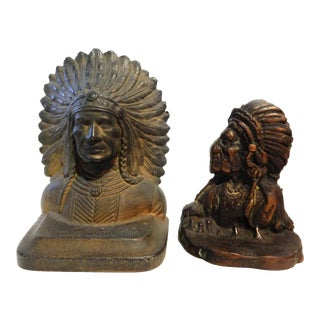 Vintage Native American Chiefs Bronze Book Ends - a Pair