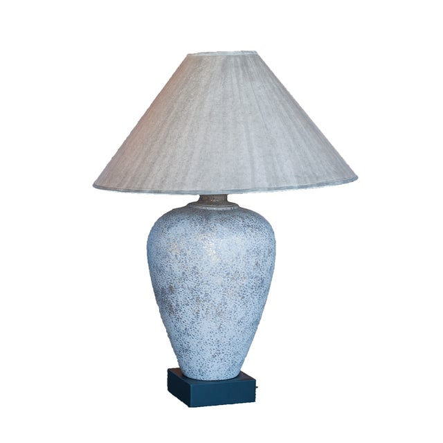 Gold gray speckled jar shaped table lamp chairish for O shaped table lamp