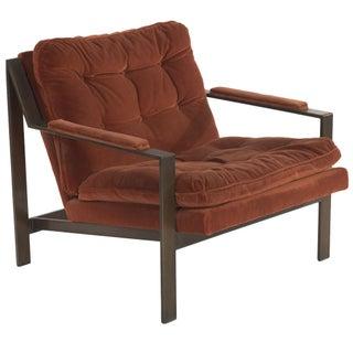Milo Baughman Style Bronze Club Chair