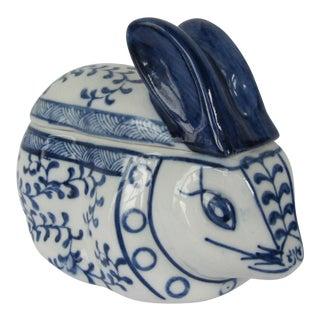 Blue & White Porcelain Rabbit Lided Box