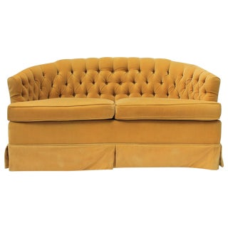Flair Inc. Yellow Tufted Mohair Love Seat