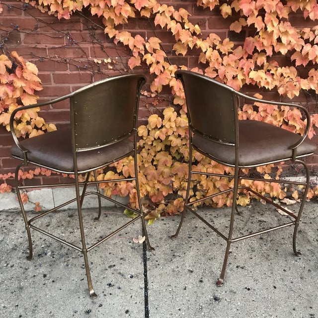 Vintage Bronze Bar Stools - a Pair - Image 3 of 6