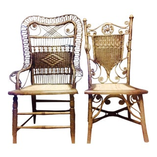 Vintage High Back Side Chairs - A Pair