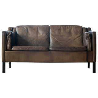 Mogens Hansen Patinated Buffalo Leather Two-Seat Sofa