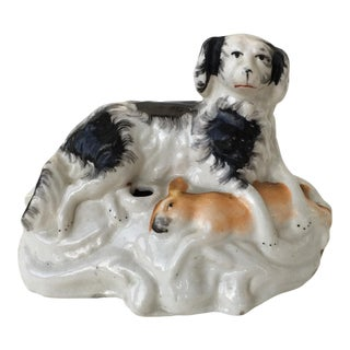 Staffordshire Inkwell of Spaniel & Rabbit