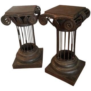 Arturo Pani Iron Column Side Tables - A Pair