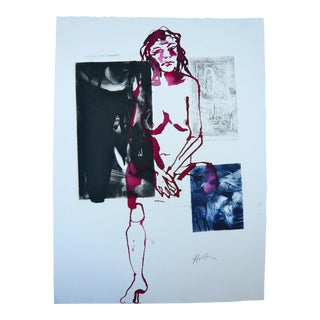 Burgundy Model Abstract Figurative Mono Print