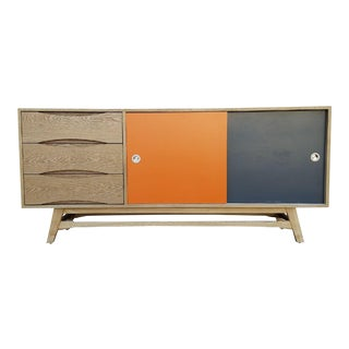 Mid-Century Orange & Gray Credenza