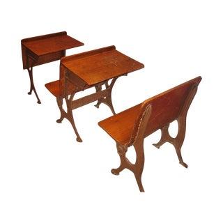 Row of Antique School Desks - 3 Pieces