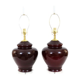 1970s Asian Modern Glass & Lucite Lamps - Pair