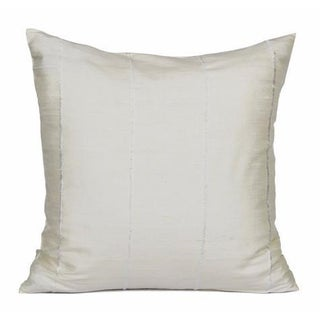 Ivory Striped Raw Silk Square Pillow Cover