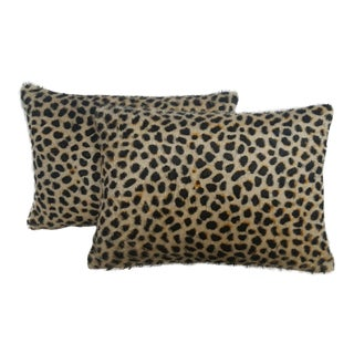 Cheetah Mohair Lumbar Pillows - A Pair