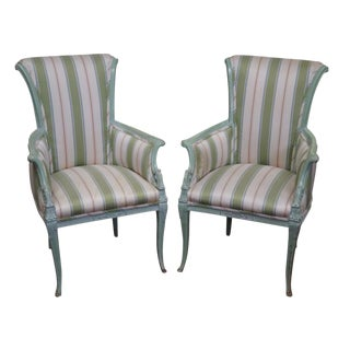1940s Vintage Louis XV Style Fireside Bergere Host Chairs - a Pair