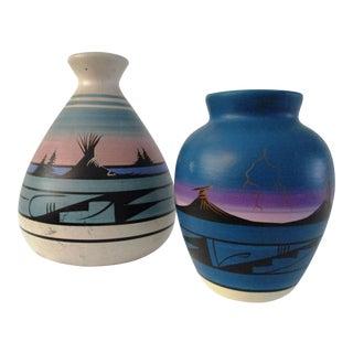 Vintage Navajo Pottery Vases - A Pair