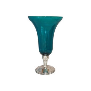 Sterling Silver & Turquoise Glass Vase