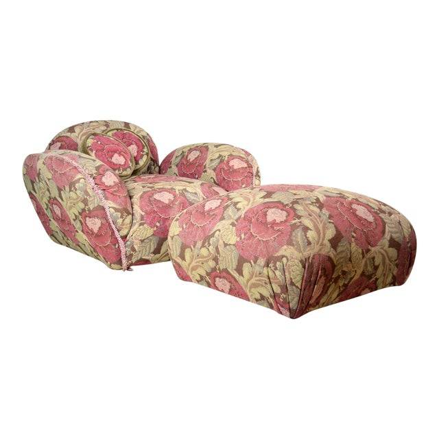 Phyllis Morris Floral Swivel Lounge Chair With Ottoman - Image 1 of 4