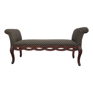 Rolled Arm Upholstered Braided Bench