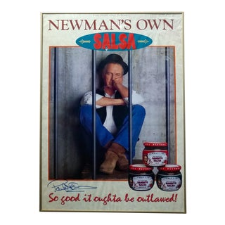 Paul Newman Original Vintage Signed Poster -Newman's Own Salsa