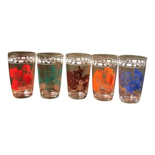 Vintage Animal Juice Glasses - Set of 5
