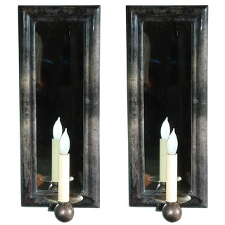 Pair of Parchment Mirrored Wall Sconces