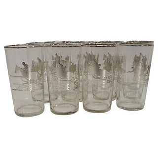 Kentucky Derby Sterling Silver Equestrian Highballs - Set of 12