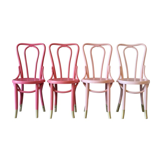 Mid-Century Coral Ombre Bentwood Chairs - Set of 4 - Image 1 of 7