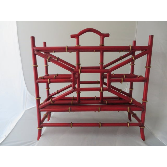 Red Metal Bamboo Magazine Rack - Image 2 of 3