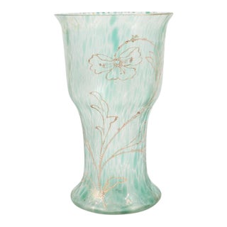 Art Nouveau Austrian Art Glass Vase in Green Iridescent and Gold Relief Vine