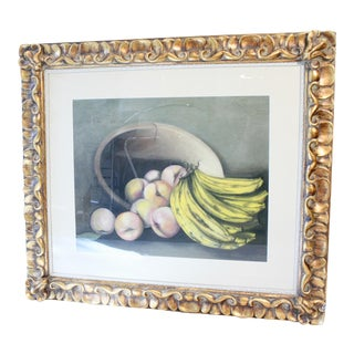 Original Still Life Drawing in Ornate Gold Frame