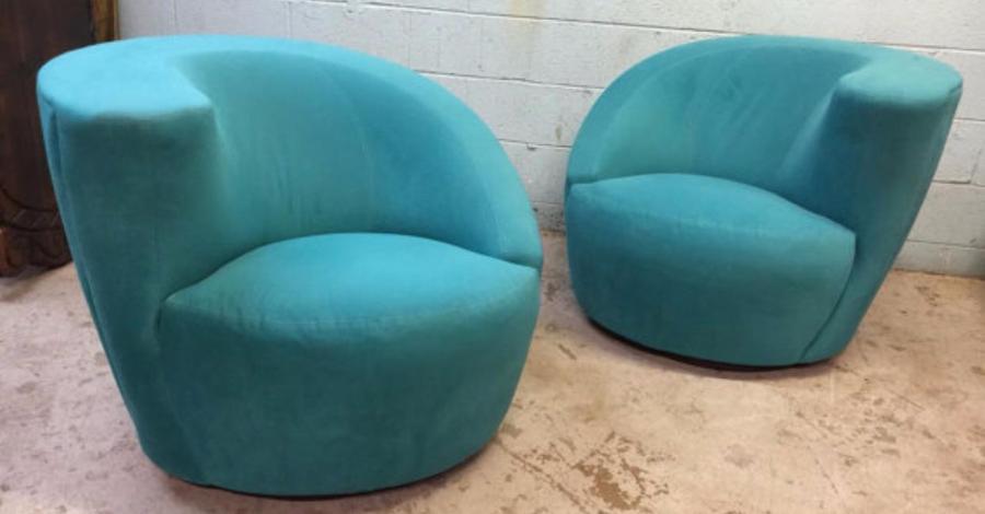 Modern Directional Vladimir Kagan Nautilus Chairs   A Pair   Image 2 Of 3
