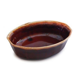 McCoy USA Brown Drip Glaze Oval Serving Dish