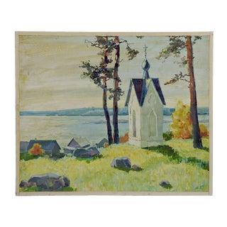 Russian Coastal Scene Oil On Masonite Painting