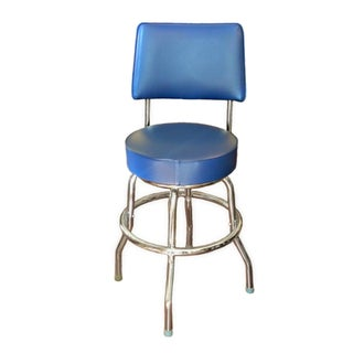 Retro Inspired Blue Swivel Stool