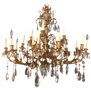 19th Century Dore Bronze and Fine Crystal Chandelier, Doyle Galleries, NY