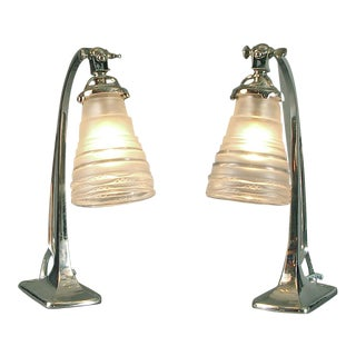 A Smashing Pair of French Art Deco Bedside or Desk Lamps
