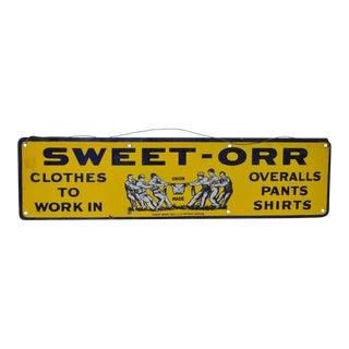 Sweet-Orr Enamel Advertising Sign