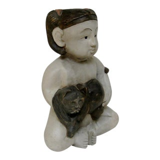 Wood Figurine of Girl With Cat