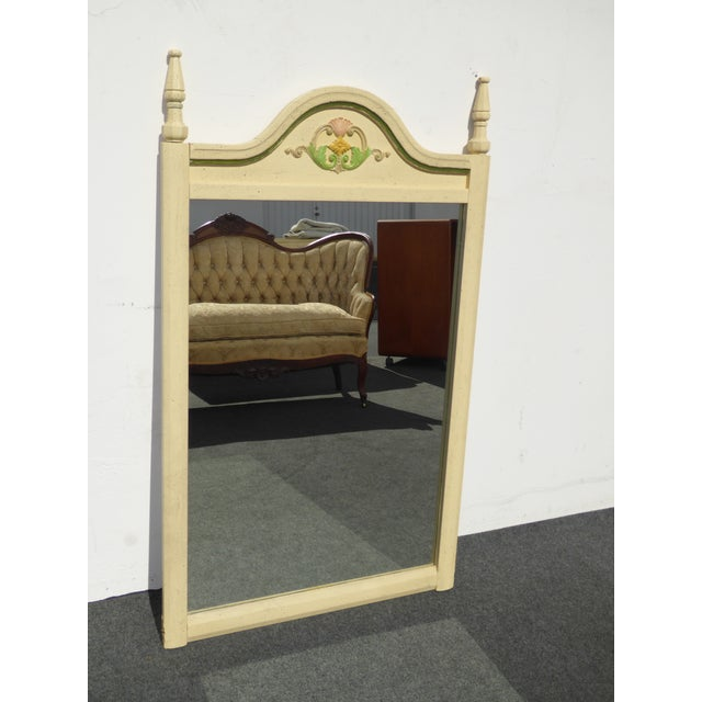 French Country Off White Floral Crest Wall Mirror - Image 6 of 11