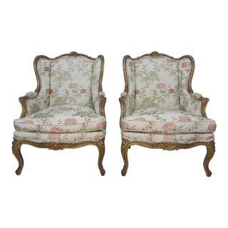 Antique French Giltwood Bergere Chairs - a Pair
