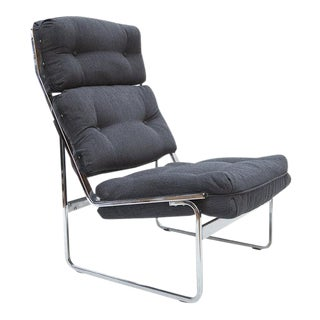 MID CENTURY CHROME LOUNGE CHAIR