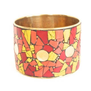 Vintage Brass & Red Mosaic Picassiette Bracelet