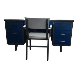 Mid-Century Blue Metal Tanker Desk & Chair