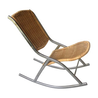 Vintage Wicker & Chrome Rocking Chair