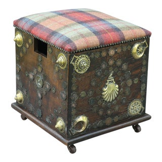 Antique Equestrian Wine Box & Footstool