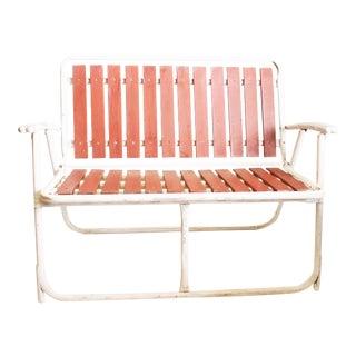 Mid Century Redwood Aluminum Folding Patio Loveseat Chair