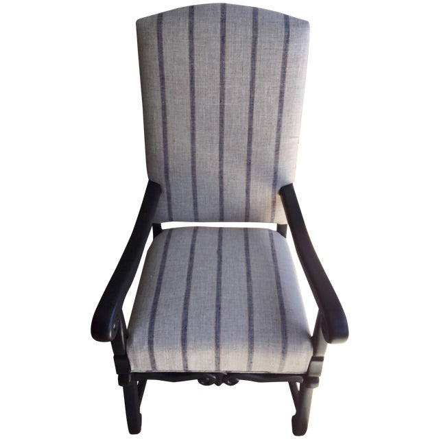 Image of Blue & Beige Striped Accent Chair