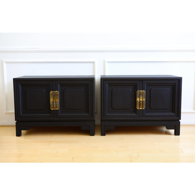 Mid Century Modern Black Nightstands - A Pair - Image 2 of 8