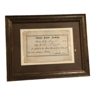 1874 Chester Female Academy Framed Award