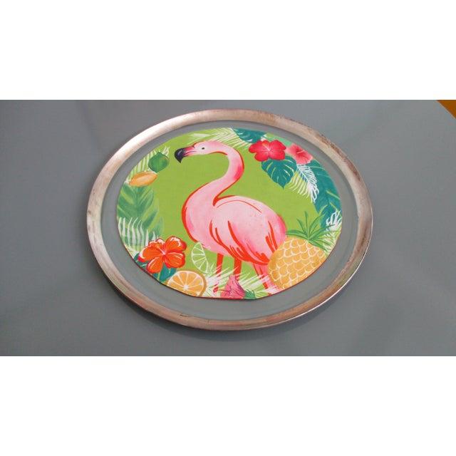 Dorothy Thorpe Mid-Century Glass Silver Rim Tray - Image 3 of 11